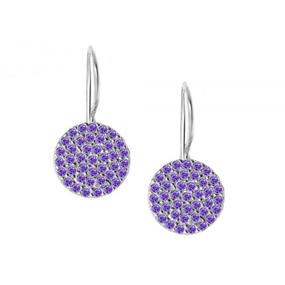 Glistening Amethyst Cubic Zirconia Disks Earrings