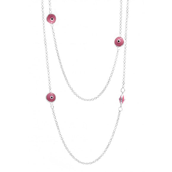 Evil Eye Pink Necklace