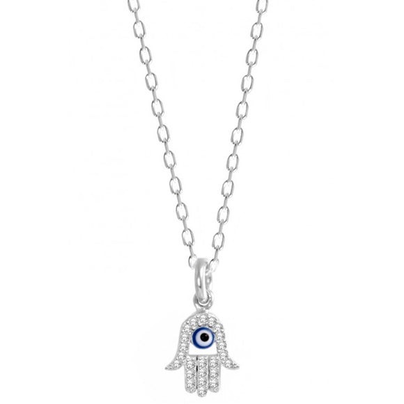 Tiny Hamsa Necklace with Cz Stones