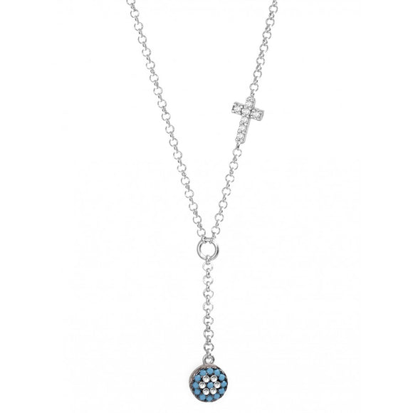 Evil Eye Necklace with Cross