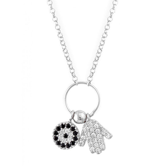 Evil Eye Hamsa Charm Necklace