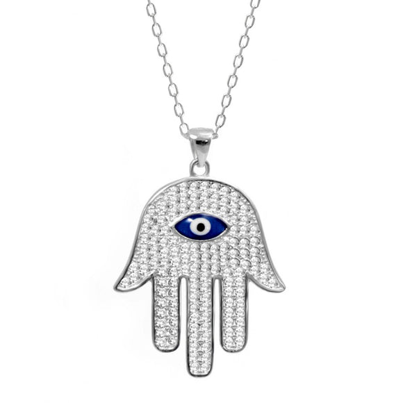 Silver Evil Eye Hamsa Necklace with Cz Stones