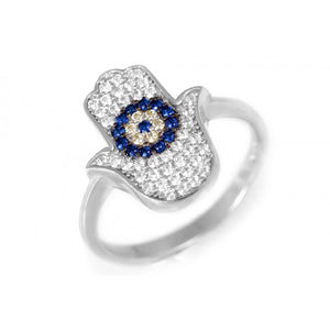 Hamsa Ring with Evil Eye