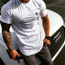 Load image into Gallery viewer, Brand Mens muscle T shirt bodybuilding fitness men tops cotton singlets Plus Big size TShirt Cotton Mesh Short Sleeve Tshirt