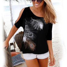 Load image into Gallery viewer, Women Casual Summer T Shirt 2019 Short Batwing Sleeve Loose Tops Cold Shoulder Feather Print Tee shirt Plus Size T-Shirt 5XL