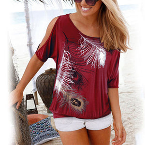 Women Casual Summer T Shirt 2019 Short Batwing Sleeve Loose Tops Cold Shoulder Feather Print Tee shirt Plus Size T-Shirt 5XL