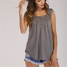 Load image into Gallery viewer, 2019 New fashionable sleeveless buttonless pure-color summer European and American  casual sleeveless women shirts clothing