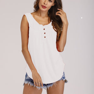 2019 New fashionable sleeveless buttonless pure-color summer European and American  casual sleeveless women shirts clothing