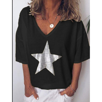 2019 New Fashion T shirt Women Sequins V-Neck Five-pointed star Tops Tees Female Short Sleeve Street Ladies Plus size code S-XXL