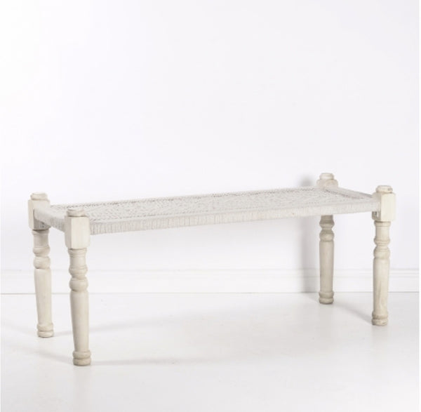 New Directions - White Woven Bench