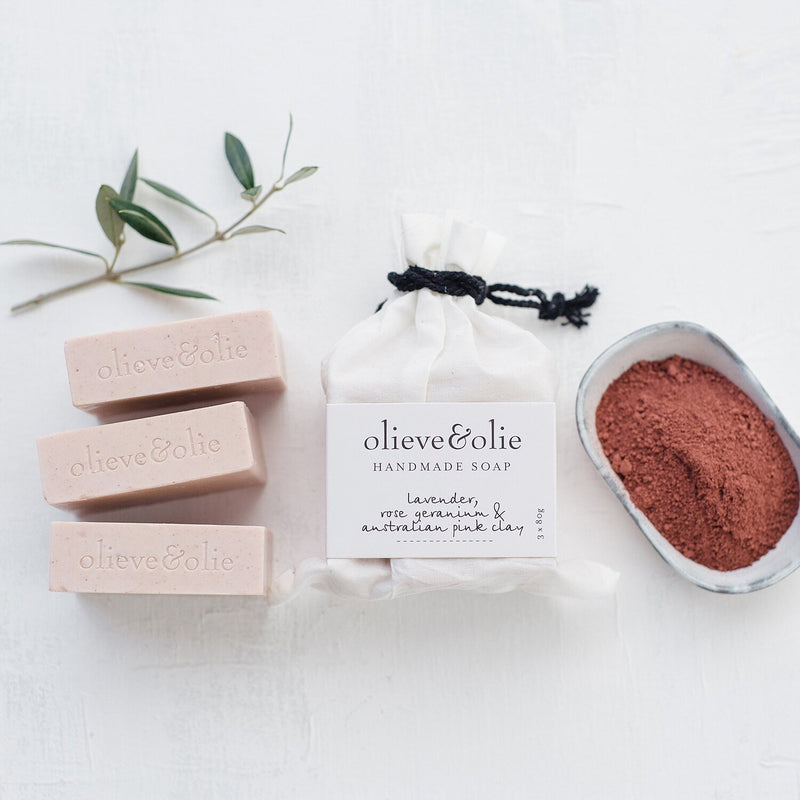 Olieve & Olie Soap 3 Pack Lavender & Pink Clay