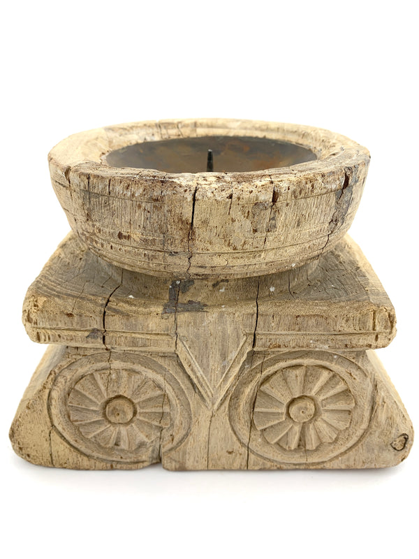 Carved Seeder Candle Holder