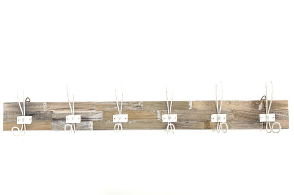 Wall Hook Rack - Whitewashed 6 Hooks