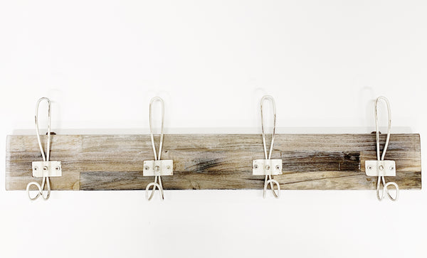 Wall Hook Rack - Whitewashed 4 Hook