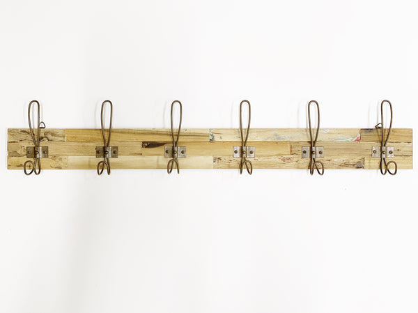 Wall Hook Rack - Rust 6 Hook