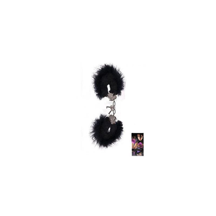 Secret Play Black Plush and Marabou HandCuffs