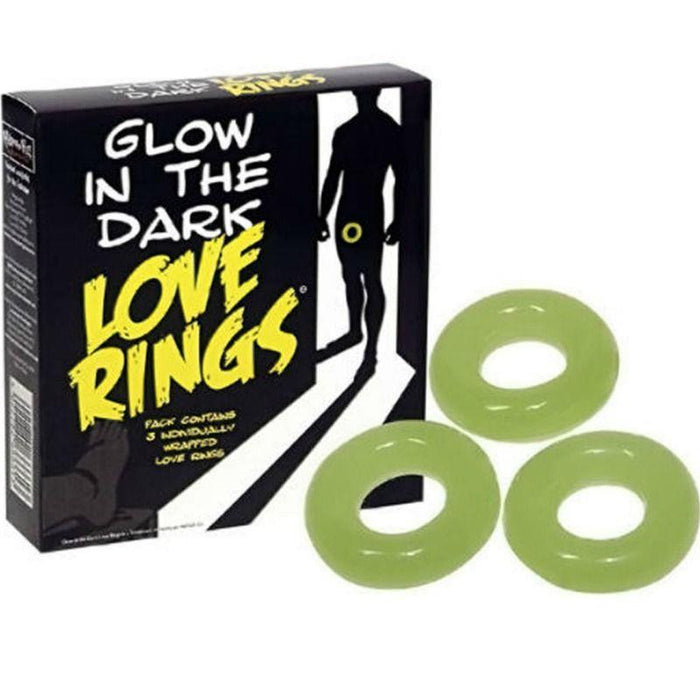 Pack of 3 Glow in the Dark Love Rings