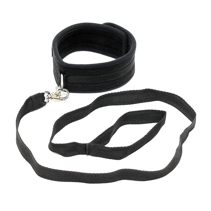 Collar with Leash Adjustable Black