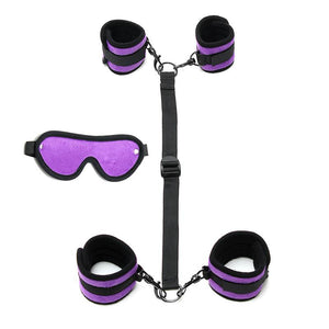 Hand to Ankle Cuffs with Mask Adjustable Purple