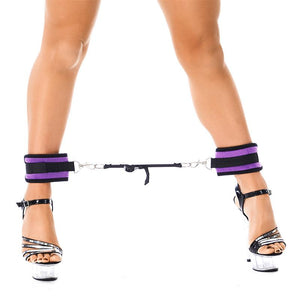 Rimba Bondage Play Ankle Cuffs with Adjustable Spreader Strap Adjustable Purple