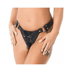 Leather Strap-on Harness with 3 Rings