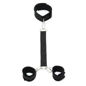 Soft Collar to Handcuffs with Leash Adjustable