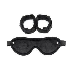 Rimba Bondage Play Hand Cuffs with Mask Adjustable Black