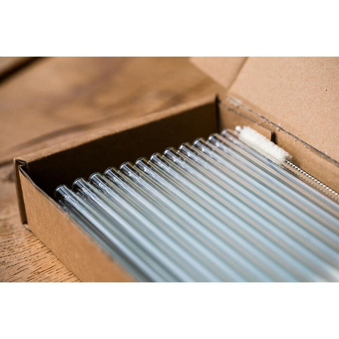 Glass drinking straws for smoothies + ice (50 pieces), tempered, transparent, length 23 cm, ø 10 mm incl. 1 x cleaning brush