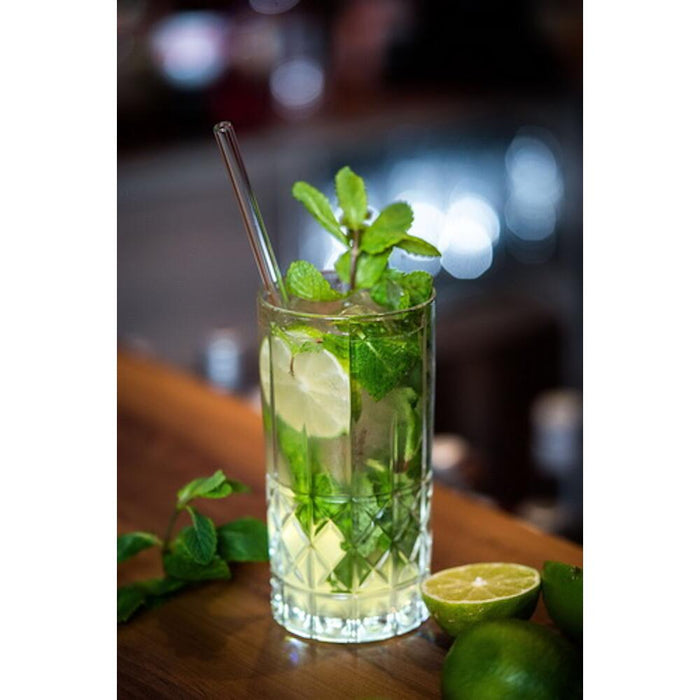 Glass drinking straws (50 pieces), tempered, transparent, length 15-27 cm, ø 8 mm incl. 1 x cleaning brush