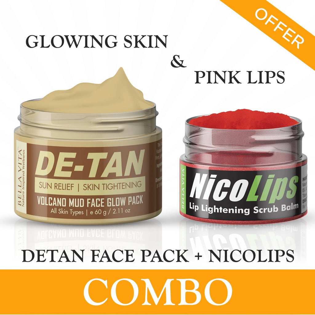 de tan face glow pack lip lightening lip scrub balm combo