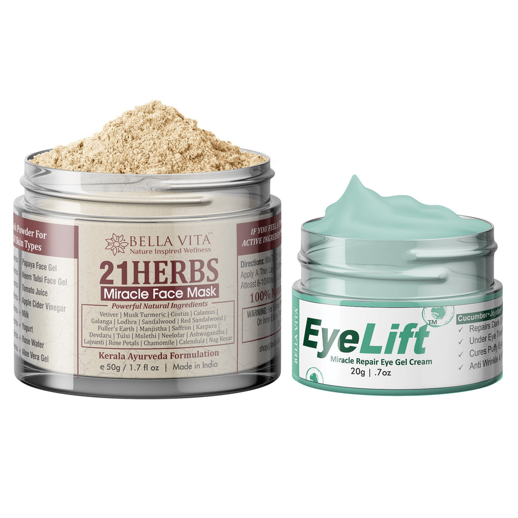 Under Eye Gel For Dark Circles, Puffy Eyes, Wrinkle Cream For Women & Men With 21 Herbs Face Pack Powder For Glowing Skin & All Concerns Combo