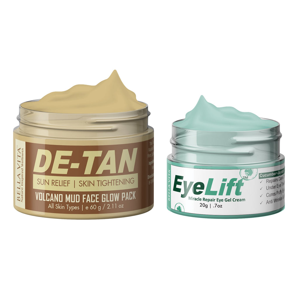 EyeLift Cream For Dark Circles Women & Men, Under Eye Gel, Puffy Eyes & Wrinkles With Tan Remover Face Pack & De-Tan Treatment For Skin Fairness and Glow, Combo