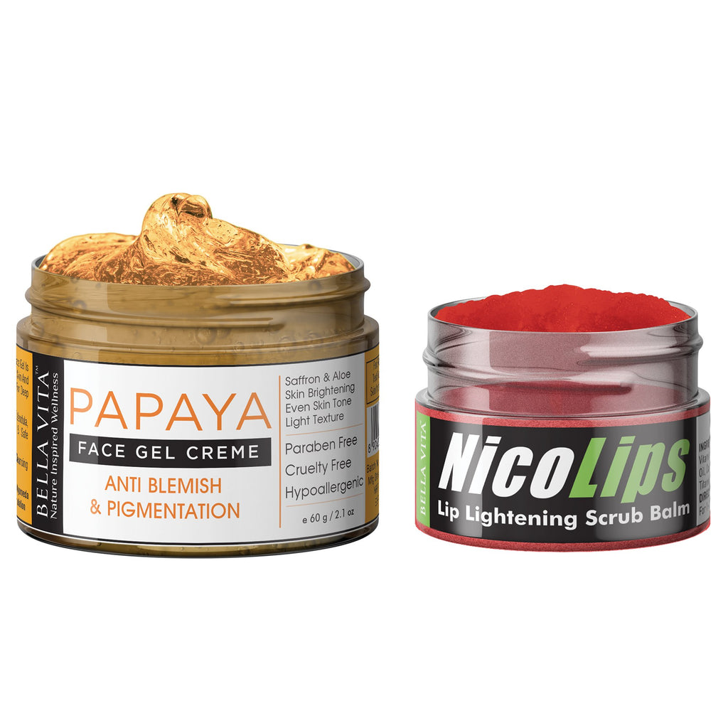 NicoLips Lip Scrub Balm NicoLips & Pigmentation Blemish Removal Papaya Face Gel Cream For Dark Spots Remover & Glowing Skin, Women & Men, Combo
