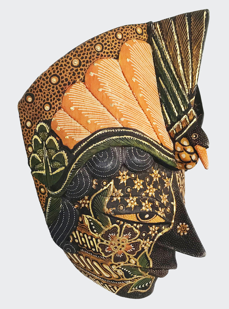 MERAK_PRADA_SMALL_SIDE.jpg  1982 × 2668px  This image shows the side view of the Wall Decor Peacock Gold Mask.