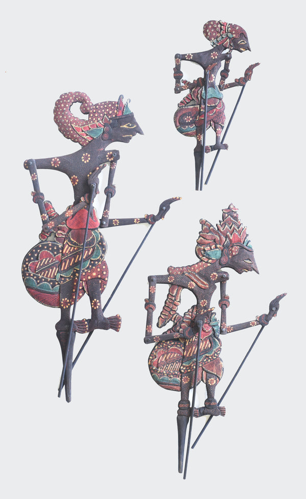 This image shows three ornamental Shadow Puppets Batik Wayang Kayu, Nakula, Rama and Yudistira. The bodies of the puppets are made of Intricately carved albesia wood and are carved and painted by a highly skilled artisan in Indonesia. The arms and manipulating rods are fully functional. The Puppets will greatly enhance any living room decor, bedroom decor, kitchen decor, hallway. decor or office decor.