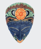 Mask Batik Topeng Flower Prada Wall Décor - Blue & Gold