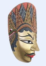 This image shows the front view of the Wall Decor Rama Mask.