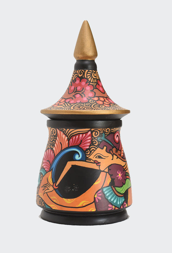 "This image shows the magnificent Batik Wayang (shadow puppet) ""Shinta"" & Flowers Jewelry container with the lid in place."