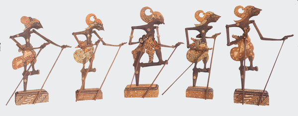 This image shows five five ornamental Shadow Puppets mounted in stands