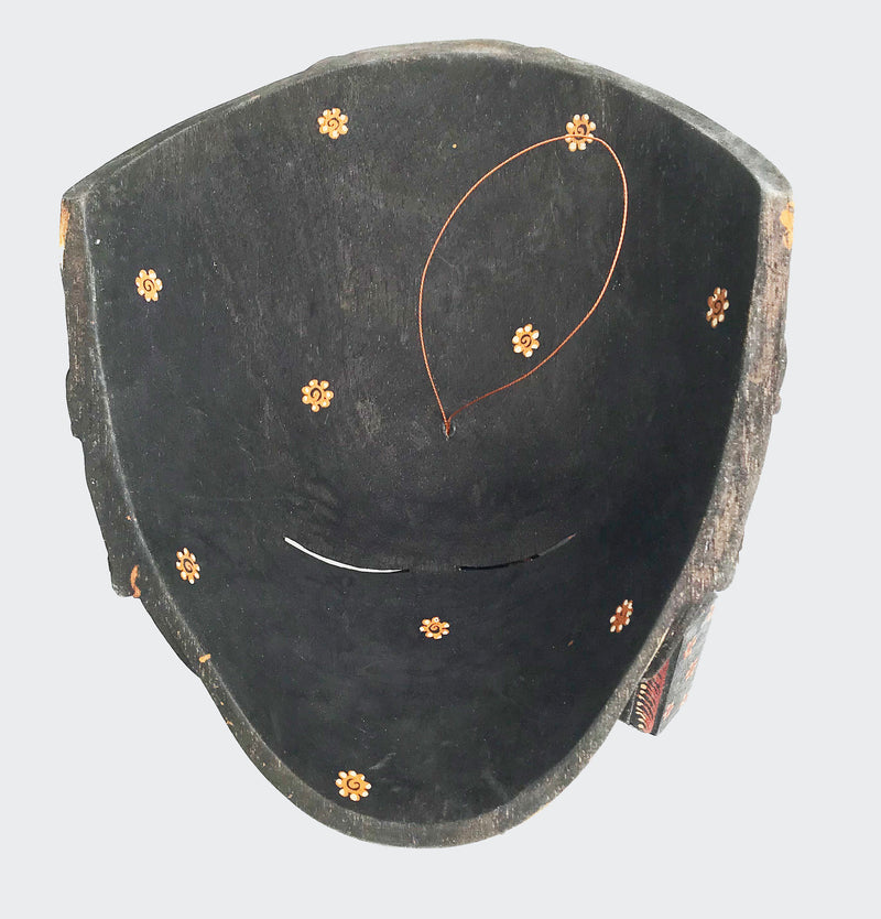 This image shows the rear view of the Wall Decor Peacock Gold Mask.