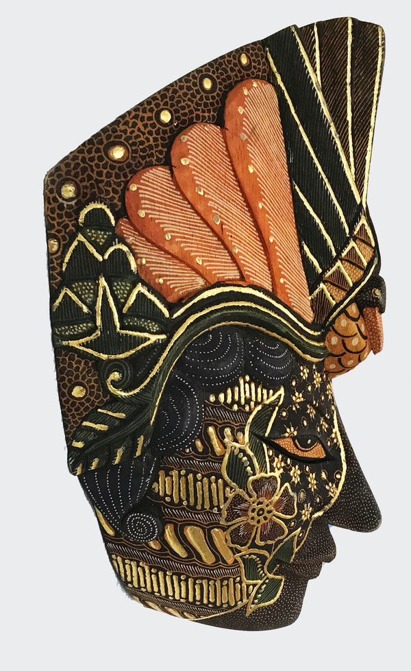 This image shows the side view of the Wall Decor Peacock Gold Mask.
