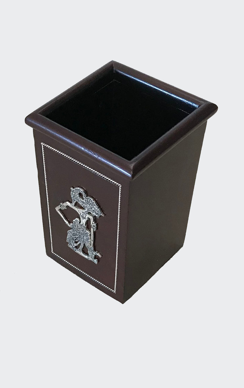 This image shows the elegant Wayang Art Pen Holder Desk Organizer made of resin-impregnated wood with intricately patterned Wayang (Shadow Puppet) motif in Pewter on the lid of the business card compartment. Both compartments have a soft fabric base. The container set will enhance any living room decor, bedroom decor, kitchen decor, hallway. decor or office decor.