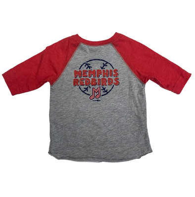 Memphis Redbirds Toddler Gray/Red Raglan T-Shirt