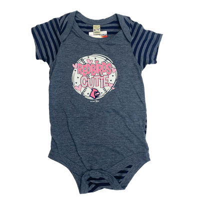 Memphis Redbirds Infant Pink/Heather Navy Striped Onesie