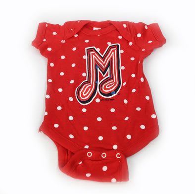 Memphis Redbirds Short Sleeve Onesie I Red Polka Dots