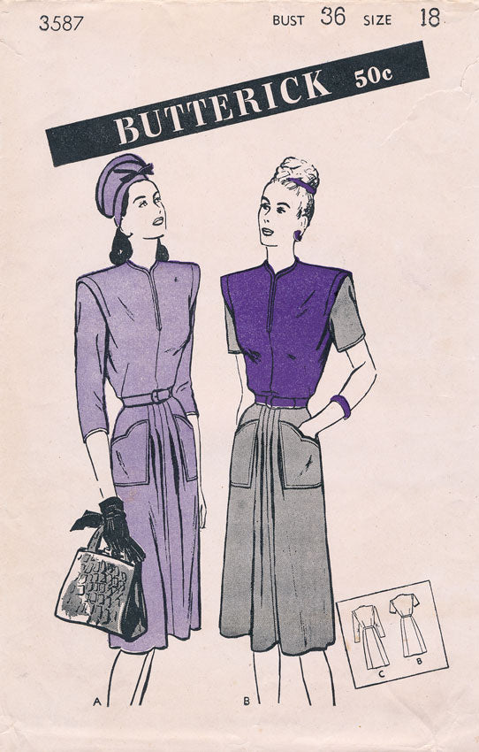 Smart 1940s Butterick frock! It could be yours!