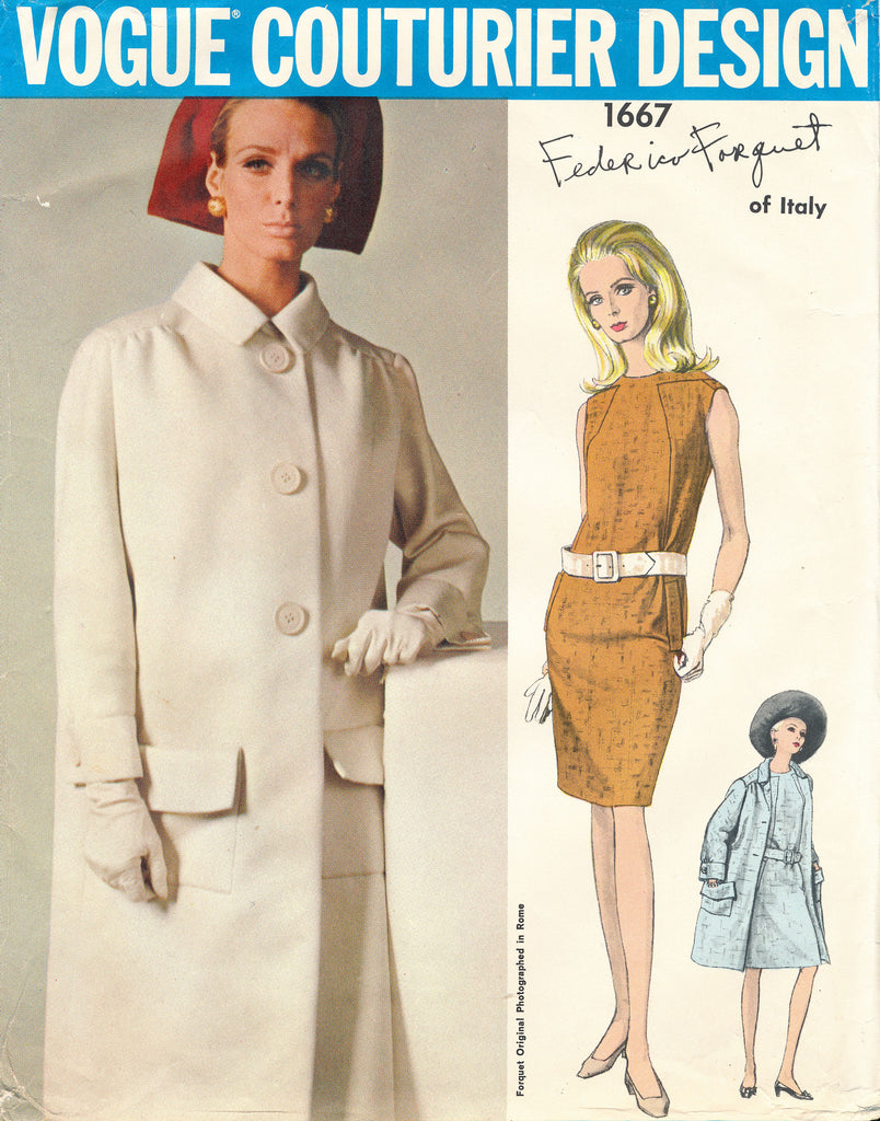 Vogue Couturier Design 1667Dress and Coat Designed by Forquet Bust 34 Complete Circa 1960s