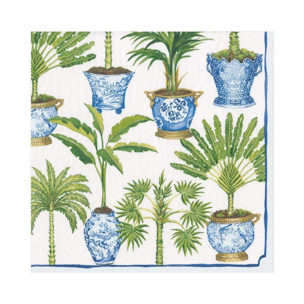 Potted Palms Paper Luncheon Napkins in White