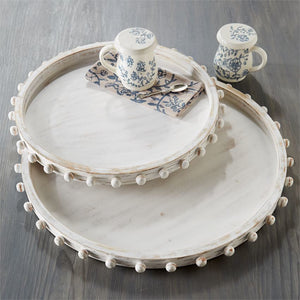 MUD PIE LARGE BEADED WOOD TRAY