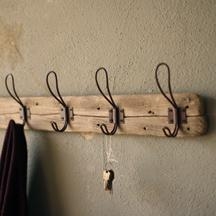 Recycled Wood Coat Rack With Rustic Hangers